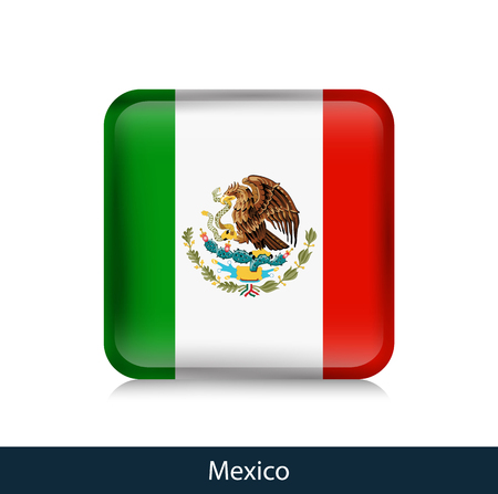 Mexico - Square glossy badge. Vector.