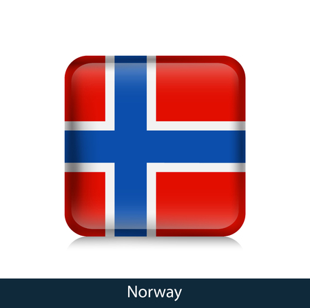 Norway - Square glossy badge. Vector.