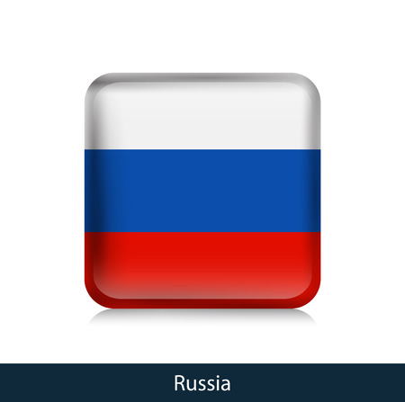 Russia - Square glossy badge. Vector.