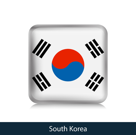 South Korea - Square glossy badge. Vector.