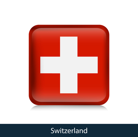 Switzerland - Square glossy badge. Vector. Vectores