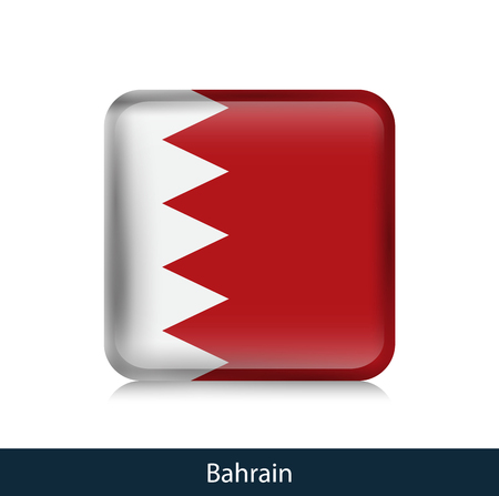 Flag of Bahrain. Square glossy badge. Vector.