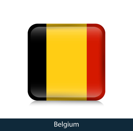 Flag of Belgium. Square glossy badge. Vector.
