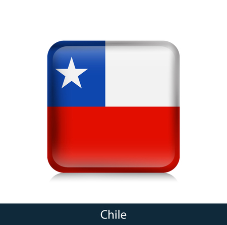 Flag of Chile - Square glossy badge. Vector.