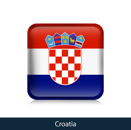 Flag of Croatia. Square glossy badge. Vector.
