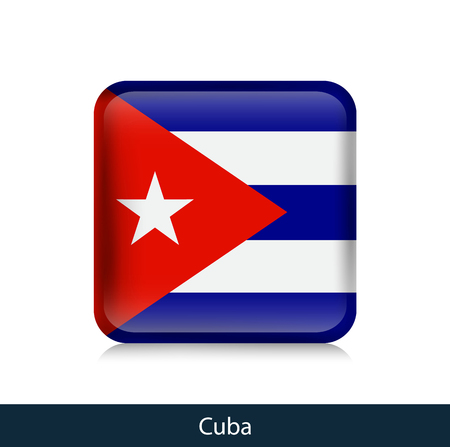 Flag of Cuba. Square glossy badge. Vector.