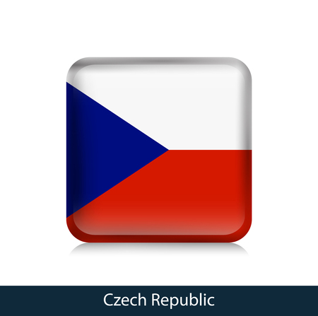 Flag of Czech Republic. Square glossy badge. Vector.