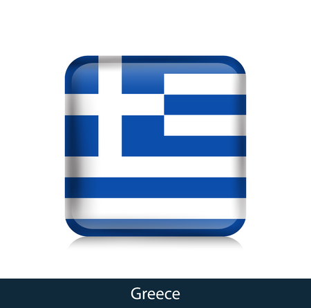 Flag of Greece. Square glossy badge. Vector.