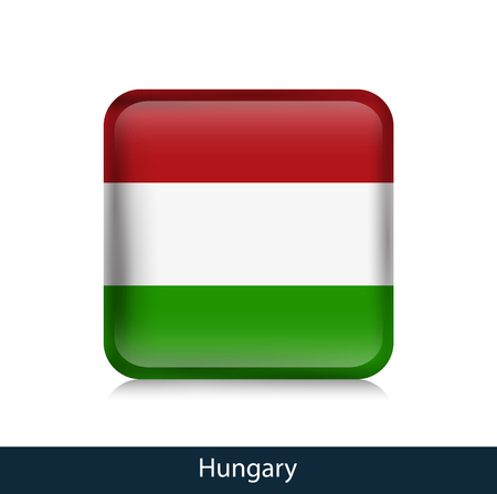 Flag of Hungary. Square glossy badge. Vector.