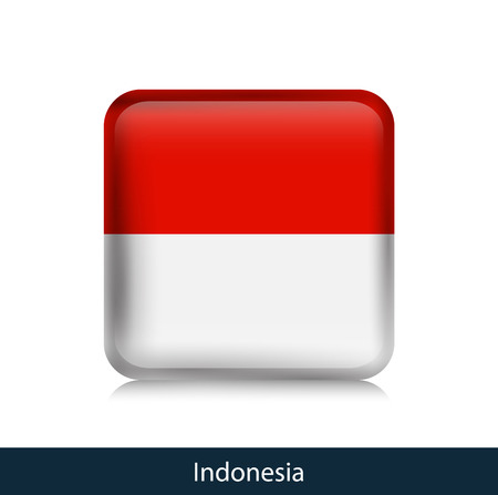 Flag of Indonesia. Square glossy badge. Vector.
