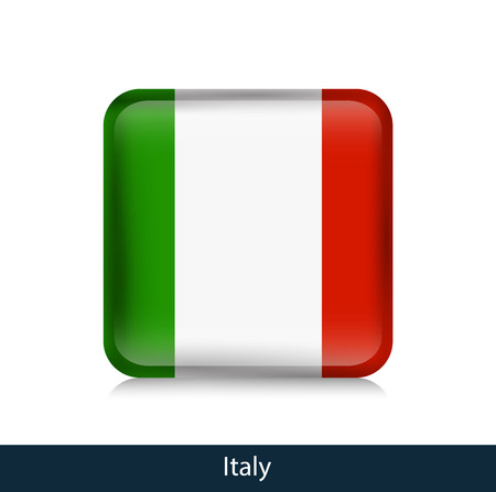 Flag of Italy. Square glossy badge. Vector.