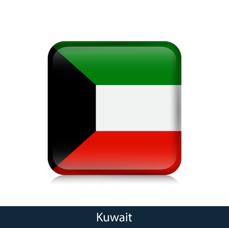 Flag of Kuwait - Square glossy badge. Vector.