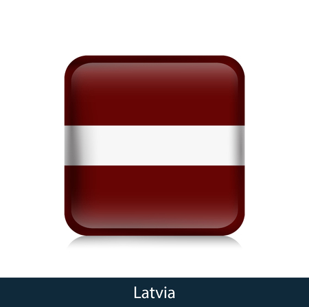 Flag of Latvia. Square glossy badge. Vector.