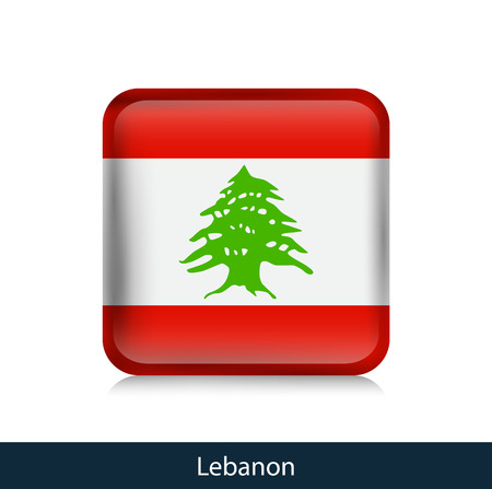 Flag of Lebanon - Square glossy badge. Vector.