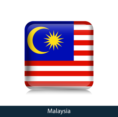Flag of Malaysia - Square glossy badge. Vector.