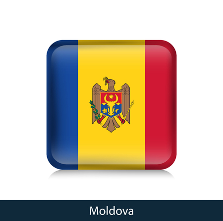 Flag of Moldova - Square glossy badge. Vector.
