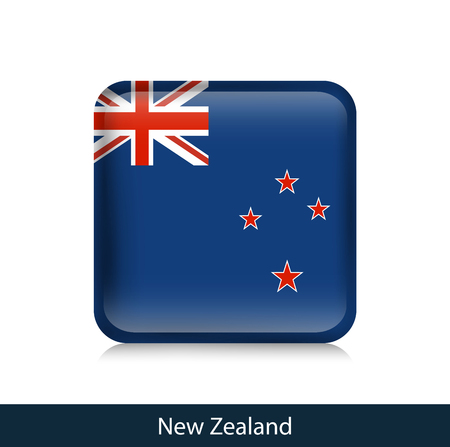 Flag of New Zealand - Square glossy badge. Vector. Illustration