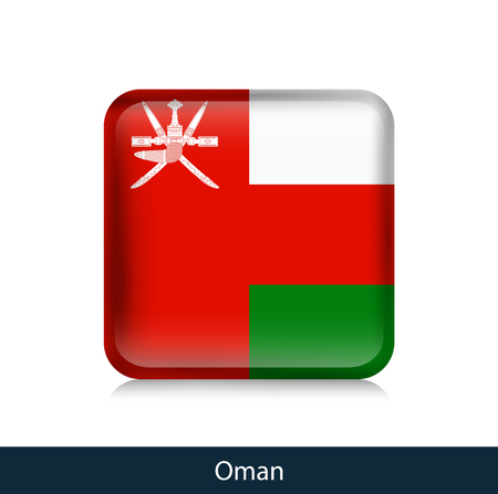 Flag of Oman - Square glossy badge. Vector.