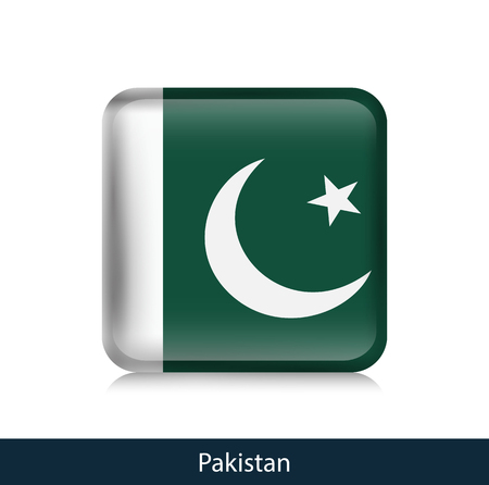 Flag of Pakistan - Square glossy badge. Vector.