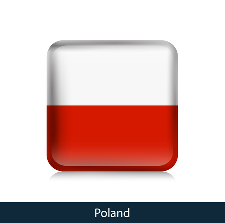 Flag of Poland. Square glossy badge. Vector.