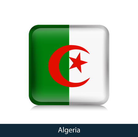 Flag of Algeria - Square glossy badge. Vector.