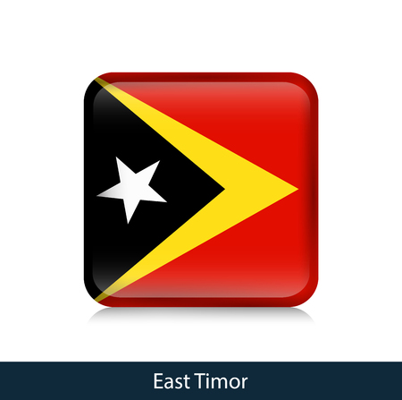 Flag of East Timor - Square glossy badge. Vector.