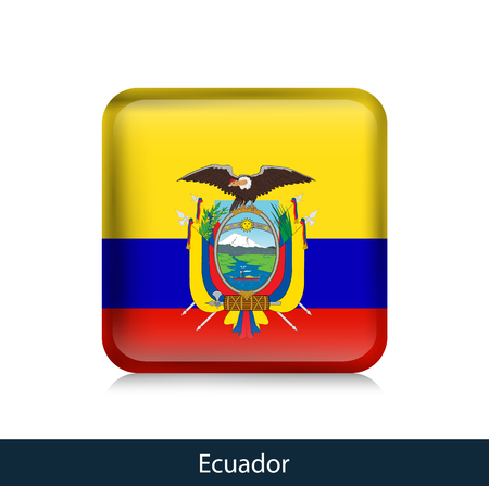 Flag of Ecuador - Square glossy badge. Vector. 矢量图像
