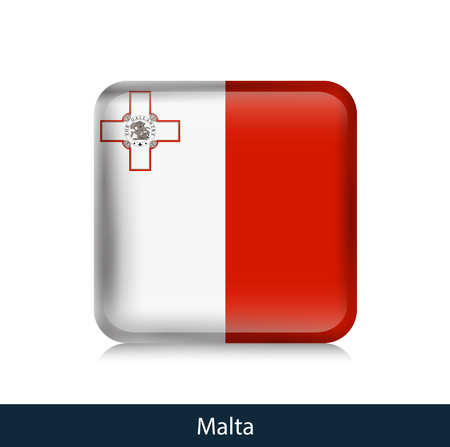 Flag of Malta - Square glossy badge. Vector.
