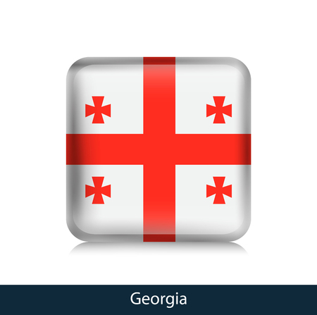 Flag of Georgia - Square glossy badge. Vector.