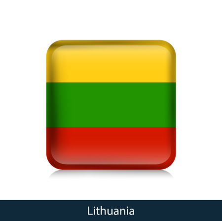 Flag of Lithuania - Square glossy badge. Vector.