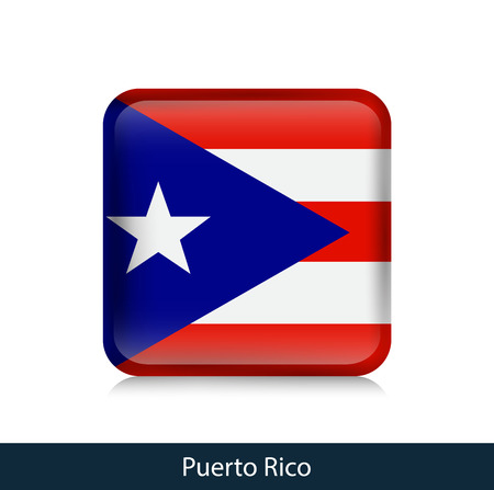 Flag of Puerto Rico - Square glossy badge. Vector.