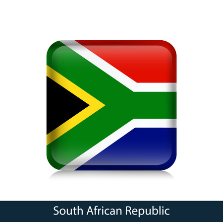 Flag of South African Republic - Square glossy badge. Vector.