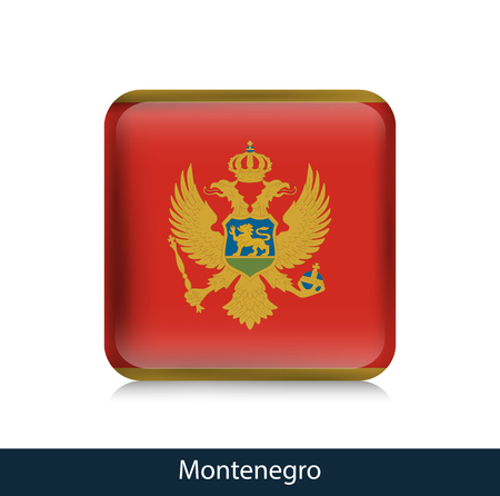 Flag of Montenegro - Square glossy badge. Vector.