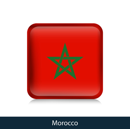 Flag of Morocco - Square glossy badge. Vector.
