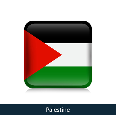 Flag of Palestine - Square glossy badge. Vector. Stock Illustratie