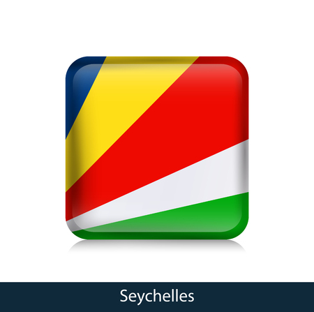 Flag of Seychelles - Square glossy badge. Vector.