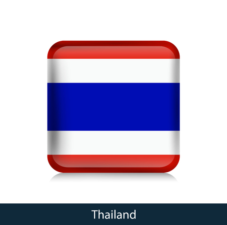 Flag of Thailand - Square glossy badge. Vector.