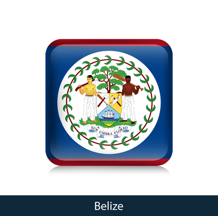 Flag of Belize - Square glossy badge. Vector.