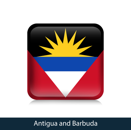 Flag of Antigua and Barbuda - Square glossy badge. Vector.