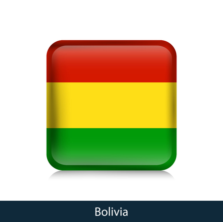 Flag of Colombia - Square glossy badge. Vector.