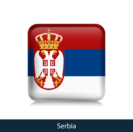 Flag of Serbia - Square glossy badge. Vector.