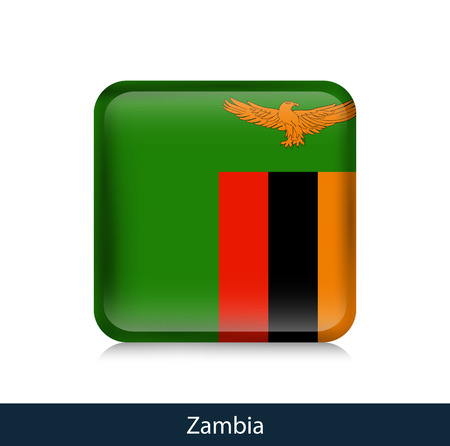 Flag of Zambia - Square glossy badge. Vector.
