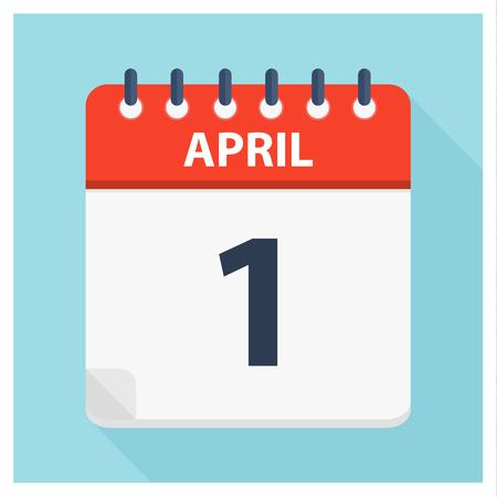 April 1 - Calendar Icon - Calendar design template - Business vector illustration. Ilustração Vetorial