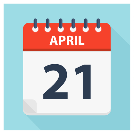 April 21 - Calendar Icon - Calendar design template - Business vector illustration.