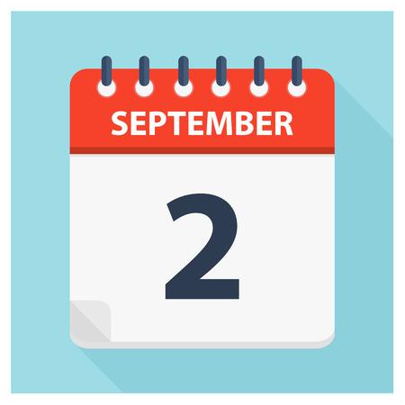 September 2 -  Calendar Icon - Calendar design template - Business vector illustration.