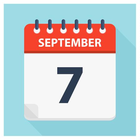 September 7 -  Calendar Icon - Calendar design template - Business vector illustration.