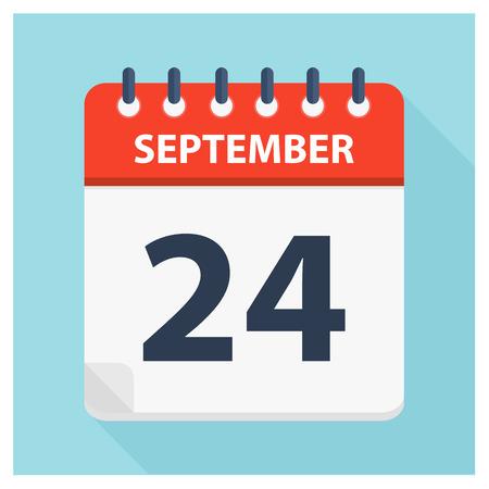 September 24 -  Calendar Icon - Calendar design template - Business vector illustration.