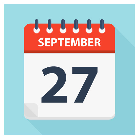 September 27 -  Calendar Icon - Calendar design template - Business vector illustration.