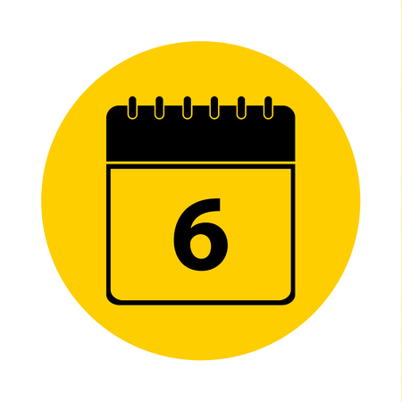 6 Calendar Yellow Vector Icon - Calendar design template - Business vector illustration.