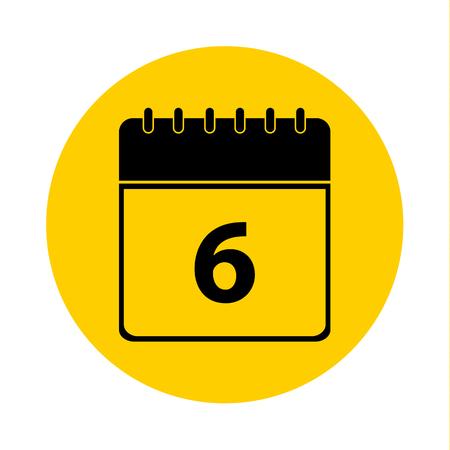 6 Calendar Yellow Vector Icon - Calendar design template - Business vector illustration.